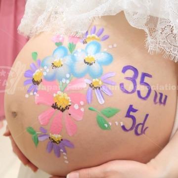 マタニティペイント:デザイン「お花」の画像